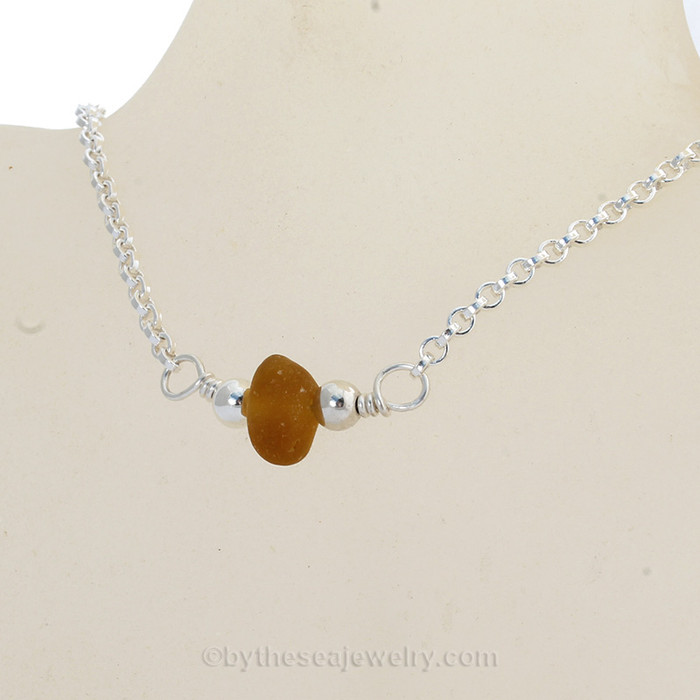 Simply Sea Glass - Glowing Honey Amber Sea Glass Necklace on All Solid Sterling Silver - 18""