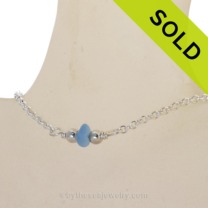 """Simply Sea Glass - Simply Sea Glass - Carolina Blue Sea Glass Necklace on All Solid Sterling Silver - 16.5"""""""
