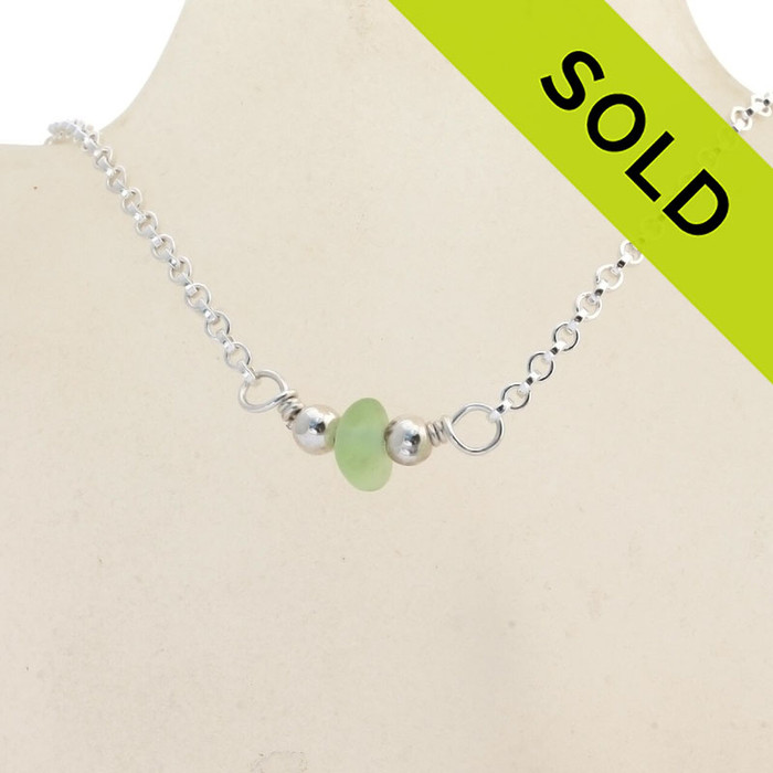 """Simply Sea Glass - Glowing Yellowy Seafoam Green Sea Glass Necklace on All Solid Sterling Silver - 18"""""""
