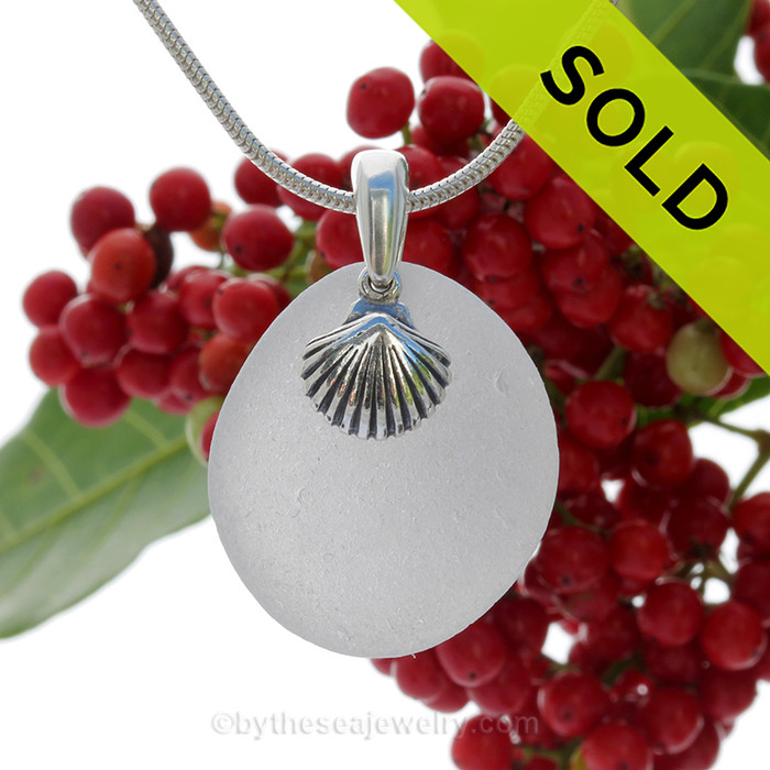"""Grayish White Sea Glass With Sterling Silver Shell Charm - 18"""" STERLING CHAIN INCLUDED"""