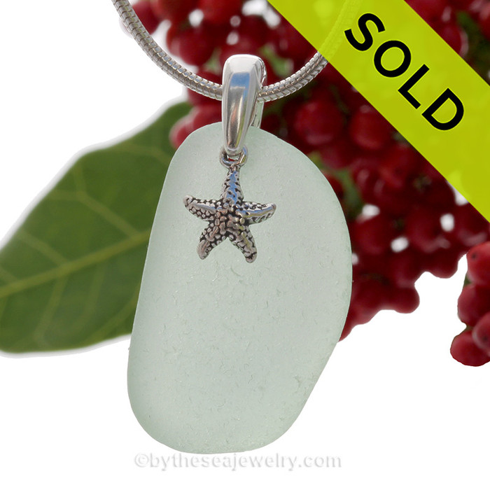 """Simply Sea Glass - Larger Seafoam Green Natural Sea Glass Necklace W/ Starfish Charm 0n 18"""" Solid Sterling Snake Chain"""