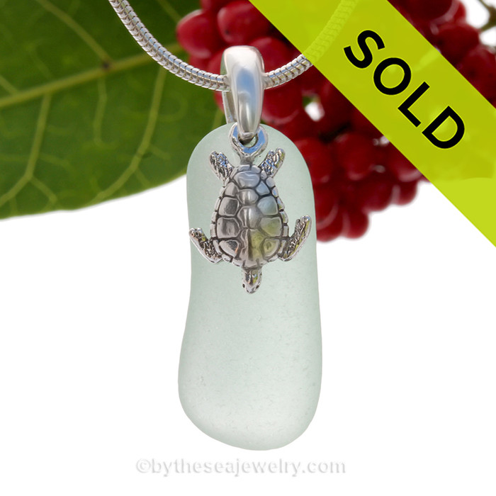 """Lovely Long Seafoam Green Sea Glass Necklace with Sterling Detailed Sea Turtle Charm and 18"""" STERLING CHAIN INCLUDED"""