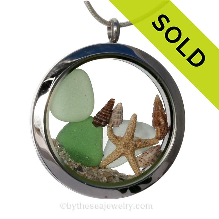 My Beach - Seafoam and Emerald Green Genuine Sea Glass Jumbo Locket With Starfish W/Beach Sand