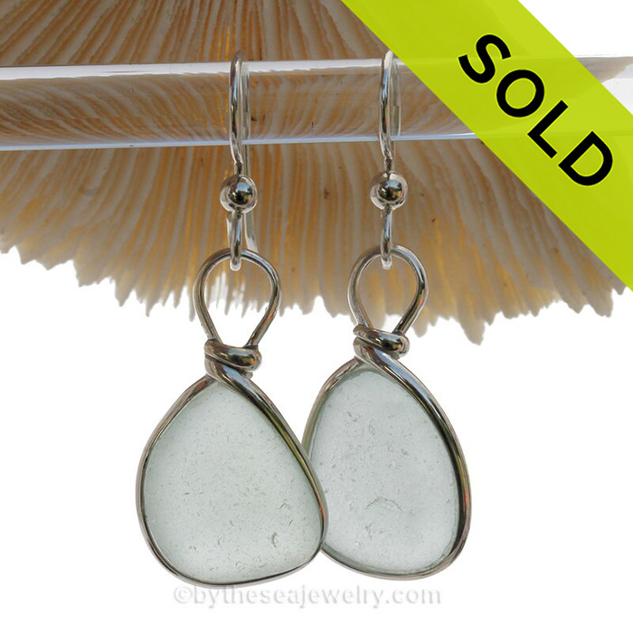 Pale and Lovely and just a touch of Aqua Blue Beach Found Sea Glass Earrings In Solid Sterling Silver Original Wire Bezel©