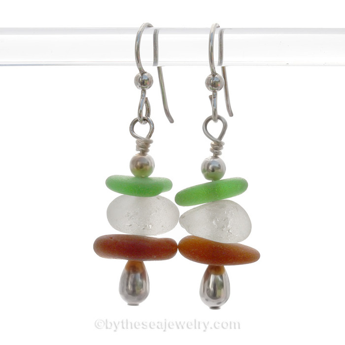 A triple stack of Chunky White, , Amber and vivid green sea glass pieces with sterling details on solid sterling sea silver earrings. This is the EXACT pair of Sea Glass Earrings that you will receive!