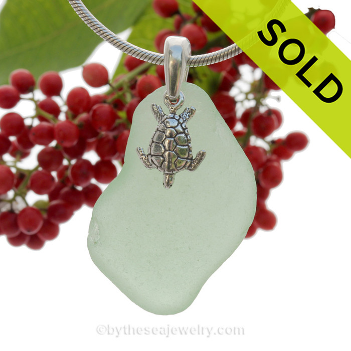 "LARGE Yellowy Seafoam Green Sea Glass Necklace with Sterling Detailed Sea Turtle Charm and 18"" STERLING CHAIN INCLUDED"
