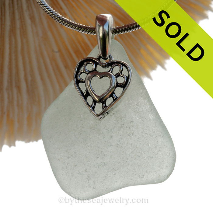 Sea Green Sea Green Sea Glass Necklace With Sterling Hearts In Hearts Charm