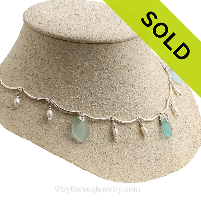 Aqua Passion- Limited Edition Rare Aqua Sea Glass Heirloom Necklace with Pearls