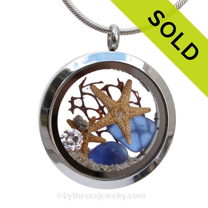 "Beach Promises -  Blue Genuine Sea Glass Locket With Two Starfish, a ""Diamond Gem & Beach Sand"