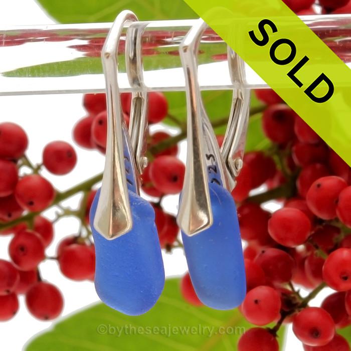 Simply Elegant -  Thick Cobalt Blue Genuine Sea Glass Earrings on Solid Sterling Leverbacks