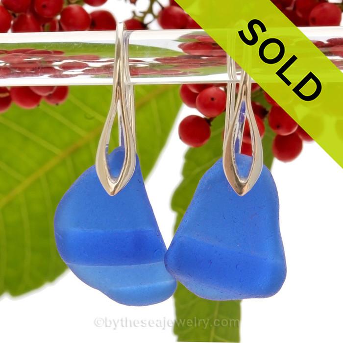 LARGE Ridged Cobalt Blue Genuine Sea Glass on Solid Sterling Deco Hook Earrings