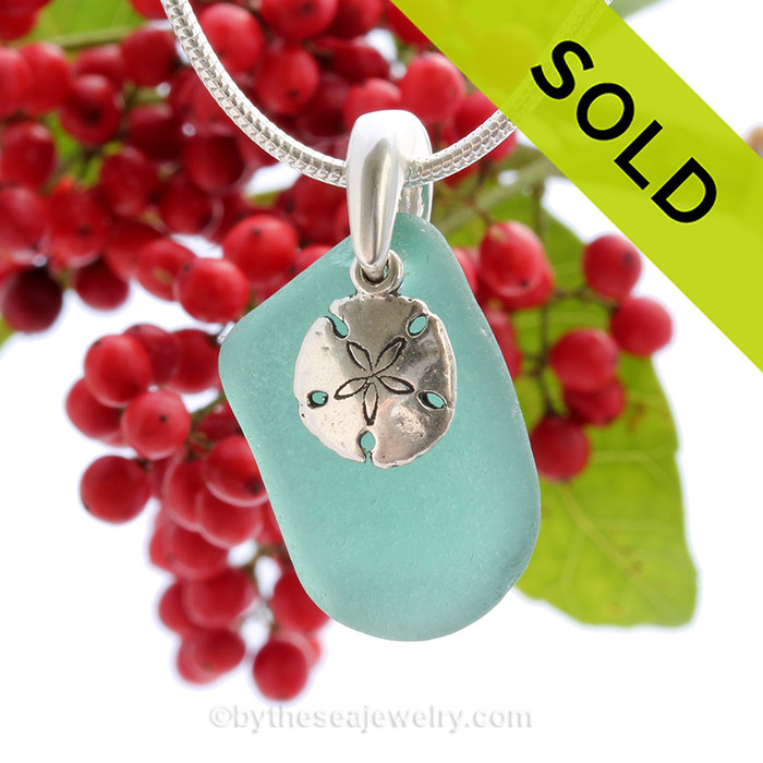 """Tropical Aqua Sea Glass With Sterling Silver Sand Dollar Charm - 18"""" STERLING CHAIN INCLUDED"""