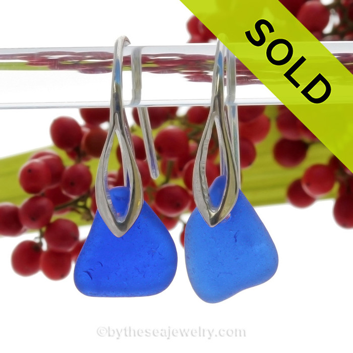 PERFECT Vivid Cobalt Blue Sea Glass Earrings on Solid Sterling Silver Deco Hooks