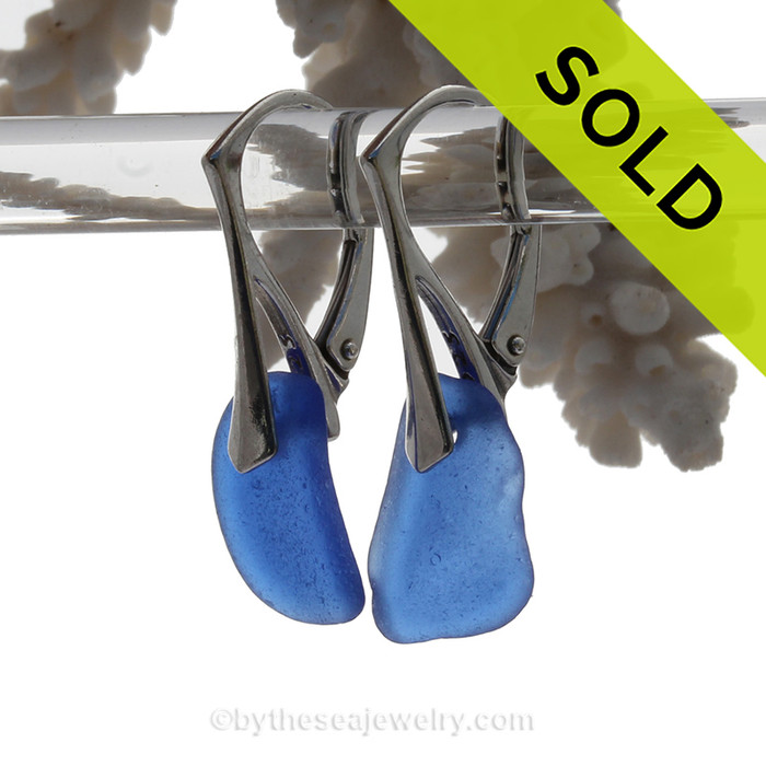 Perfect Petite piece of Squarish Cobalt Blue Sea Glass Earrings on Solid Sterling Silver Leverbacks. This is the EXACT pair of sea glass earrings that you will receive!