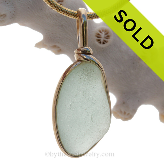 LARGE and Flat Soft Sea Green Genuine Sea Glass Pendant In Gold Wire Bezel© Pendant