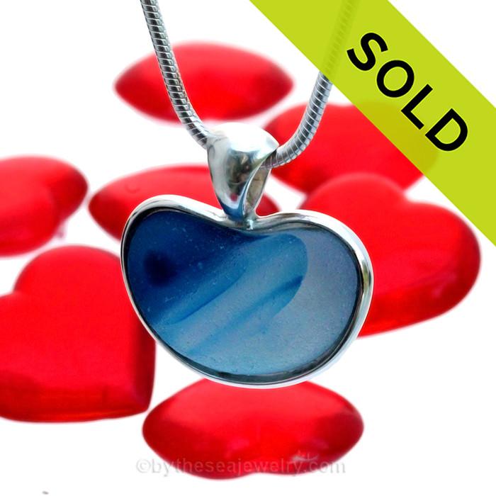 Heart Of The Ocean - ULTRA RARE Blue Multi Natural Sea Glass Heart In Deluxe Sterling Bezel© Pendant