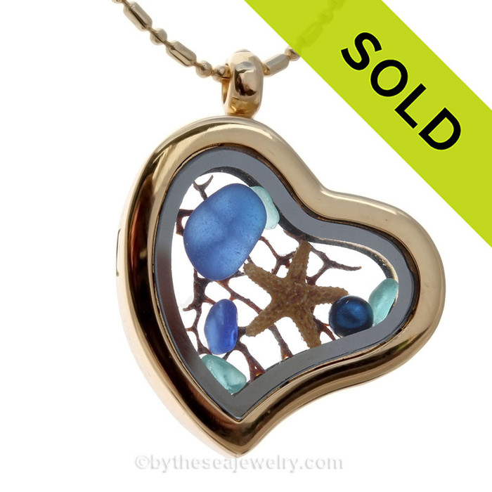 Vivid Electric Aqua and Cobalt Blue Beach Found Sea Glass Heart Goldtone Locket Necklace W/ a real baby Starfish and Seafan