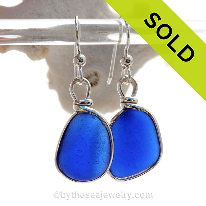 Thick Luscious Cobalt  Blue Sterling English Sea Glass Earrings In Sterling Original Wire Bezel©