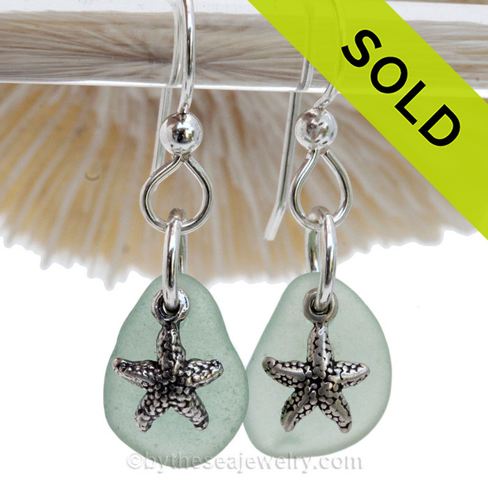 Sea Charmed -Pale Aqua Green Sea Glass Earrings W/ Sterling Starfish Charms