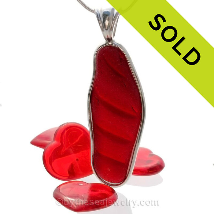 HUGE and PERFECT Stunning Embossed Vivid Cherry Red Sea Glass Pendant in our Sterling Silver Deluxe Wire Bezel Setting