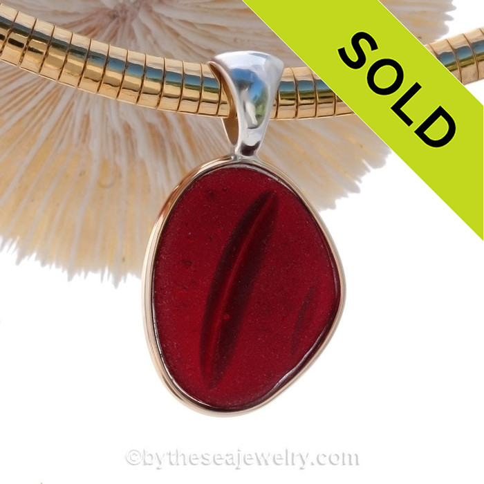 HUGE and P-E-R-F-E-C-T Ridged Red Channel Marker Sea Glass Pendant In Tiffany Mixed Deluxe Wire Bezel© on Goldfilled Omega Chain (Included and a a $120 Value).