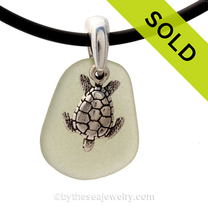 """Pale Peridot Green Sea Glass Necklace with Sterling Detailed Sea Turtle Charm and 18"""" Neoprene Cord INCLUDED"""