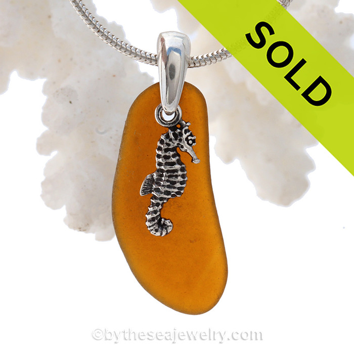 "Perfect Long Amber Brown Sea Glass Necklace With Sterling Seahorse Charm - 18"" Solid Sterling CHAIN INCLUDED"