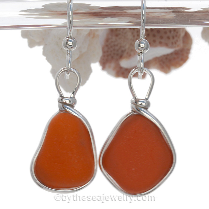 Mostly Opaque ORANGE English Sea Glass  Earrings in Original Sterling Wire Bezel©