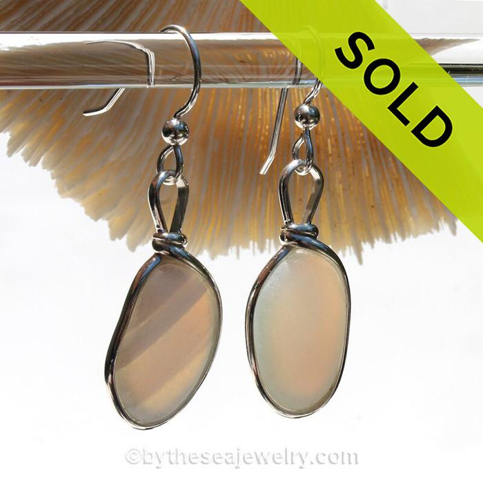 Super Ultra Rare Opalized Lundberg Sea Glass Earrings in our Original Wire Bezel© setting of Sterling Silver