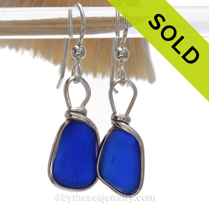 Petite Thick Cobalt  Blue Sterling English Sea Glass Earrings In Sterling Original Wire Bezel©