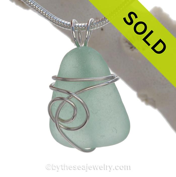 Sea Green Genuine Sea Glass In Sterling Sea Swirl Setting Pendant