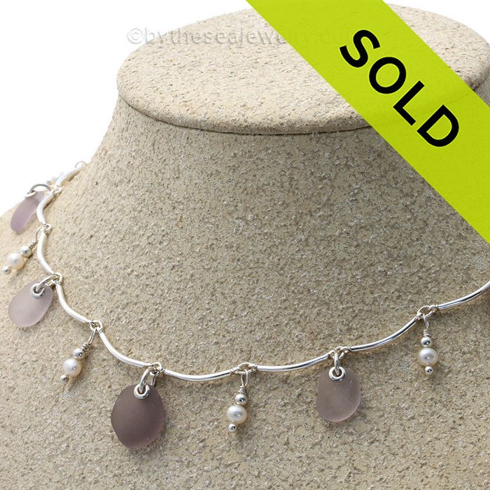 Purple Pearl Passion - All Lavender Genuine Sea Glass from Main in a Solid Sterling Silver Curved Bar Necklace with Fresh Water Pearls.
