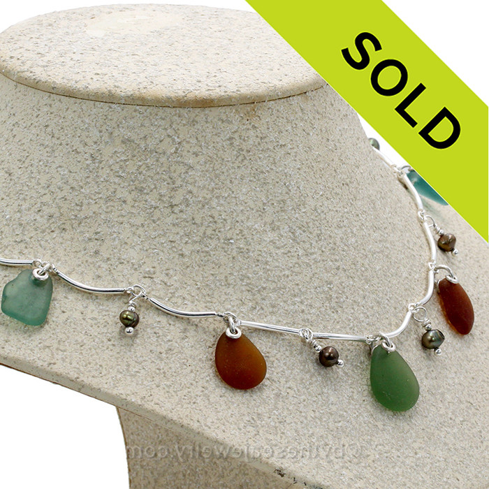 Green and Aqua Blue and Amber Genuine Sea Glass on a Solid Sterling Silver Curved Bar Necklace with Sterling Beautiful Brown Pearls