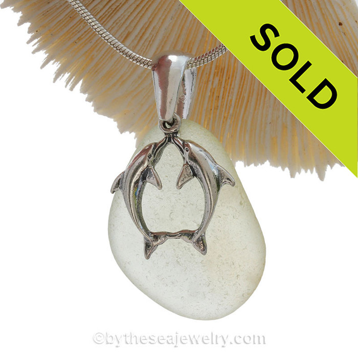 """Beautiful Kissing Dolphins Sterling Silver Necklace with Long and pale Lavender Sea Glass - 18"""" STERLING CHAIN INCLUDED."""