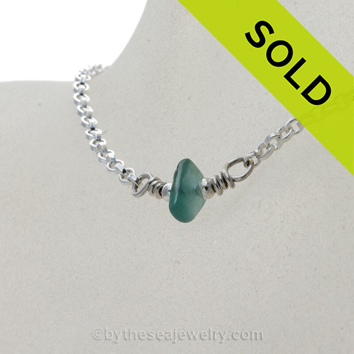 Simply Sea Glass Necklace Chunky Hawaiian Aqua Blue on Solid Sterling Silver