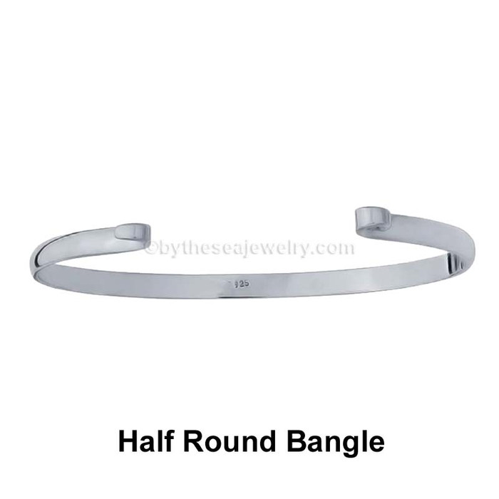 This our middle of the line Solid Sterling Sea Glass Bangle Bracelet.