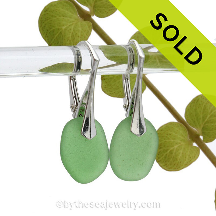 Round Petite lightweight Green Sea Glass Earrings on Sterling Silver Leverbacks