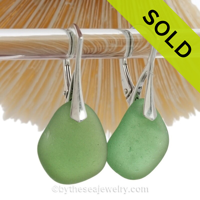 Large Green Genuine Sea Glass Earrings on Sterling Silver Leverbacks