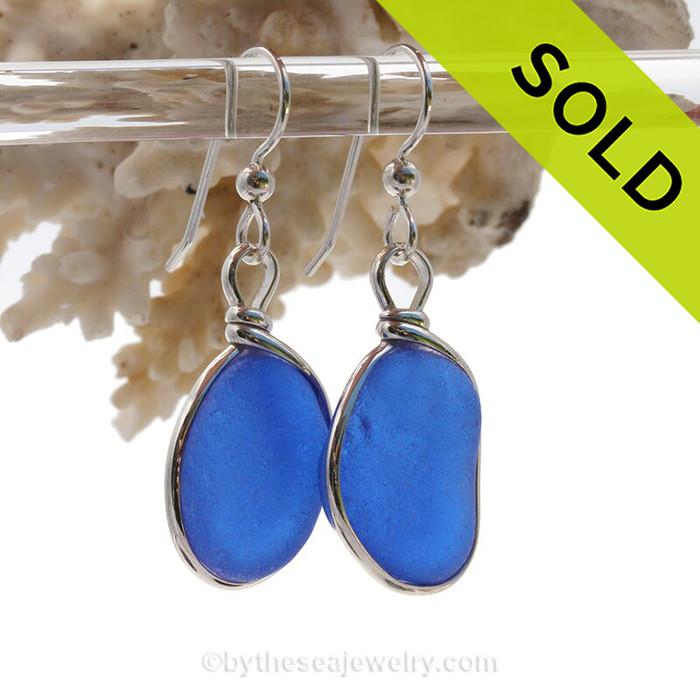 Perfect Medium Cobalt  Blue Sterling English Sea Glass Earrings In Sterling Original Wire Bezel©
