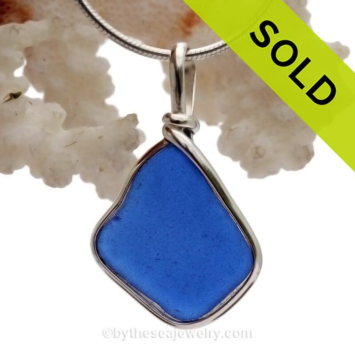 Cobalt Blue Sea Glass Pendant In Sterling Original Wire Bezel©