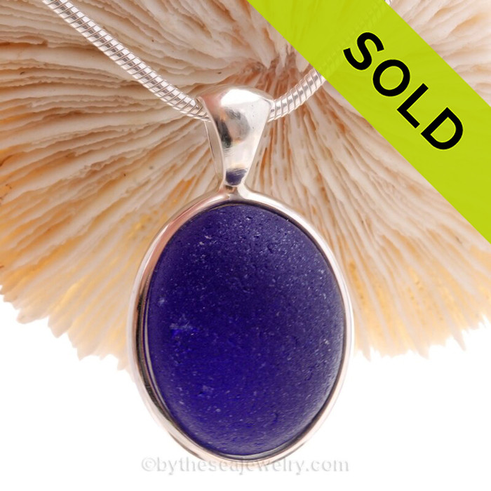 Vivid Cobalt Blue English Sea Glass Gemball In Sterling Deluxe Wire Bezel© Pendant