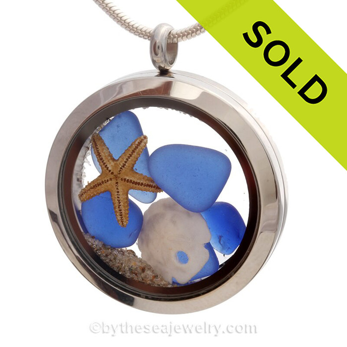 Blue Genuine Sea Glass Locket With Starfish, Sandollar and real Beach Sand