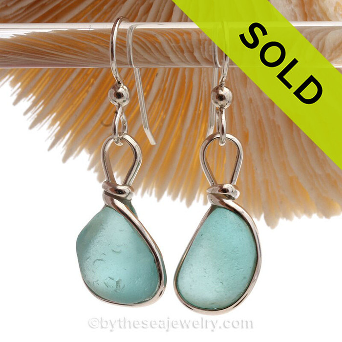 Thick Smaller Aqua blue beach found Sea Glass Earrings set in our signature Original Wire Bezel© setting in Solid Sterling Silver