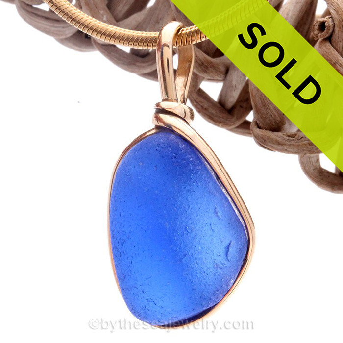 Chunky Bright Blue Sea Glass In Original 14K G/F Gold Wire Bezel© Pendant