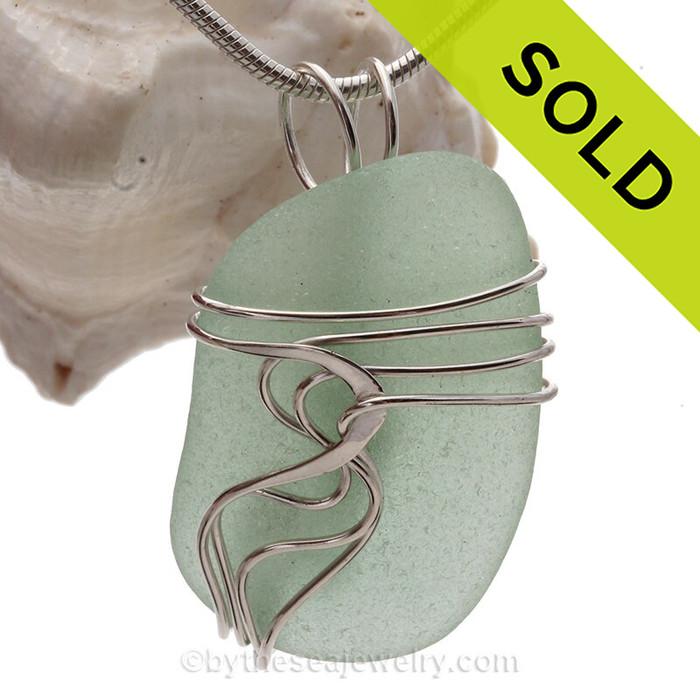 Perfect Seafoam Green Genuine Sea Glass Sterling Waves© Signature Sterling Setting Pendant