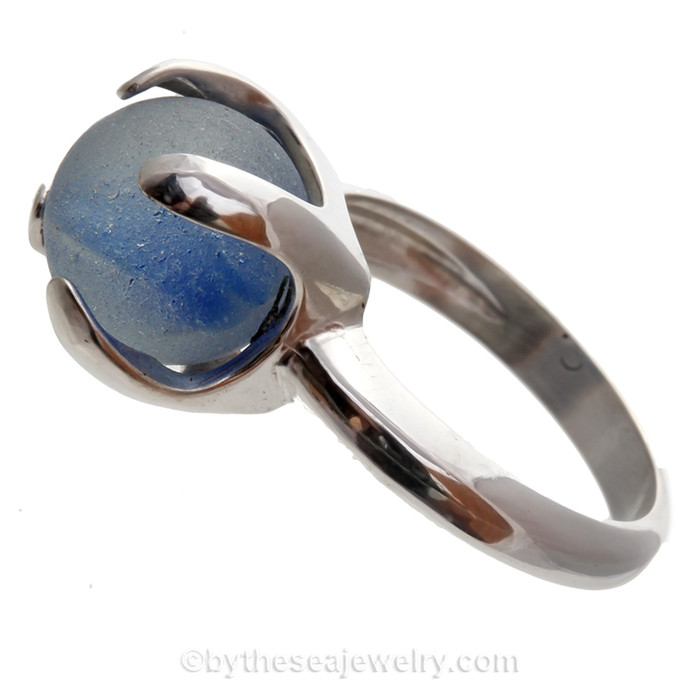 Blue & White Sea Glass Beach Found Marble In Sterling Silver High Profile Ring - Size 8