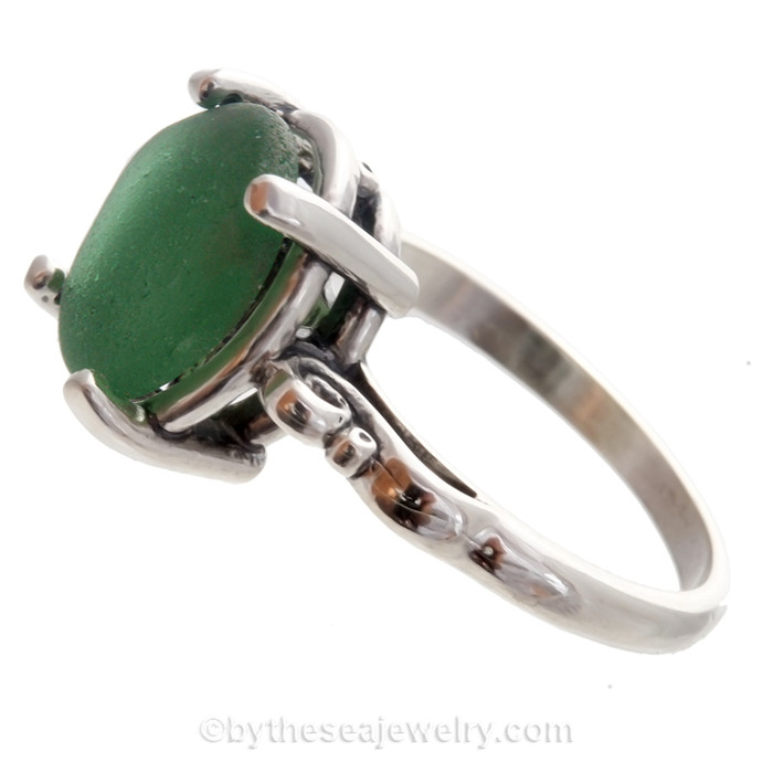 Seaweed Green Sea Green Beach Glass Ring in Sterling Scroll Setting