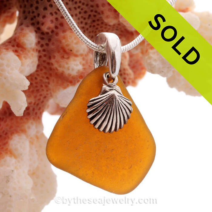 """Vivid Amber Brown Beach Found Sea Glass Necklace W/ Sterling Silver Shell Charm - 18"""" Solid Sterling CHAIN INCLUDED"""