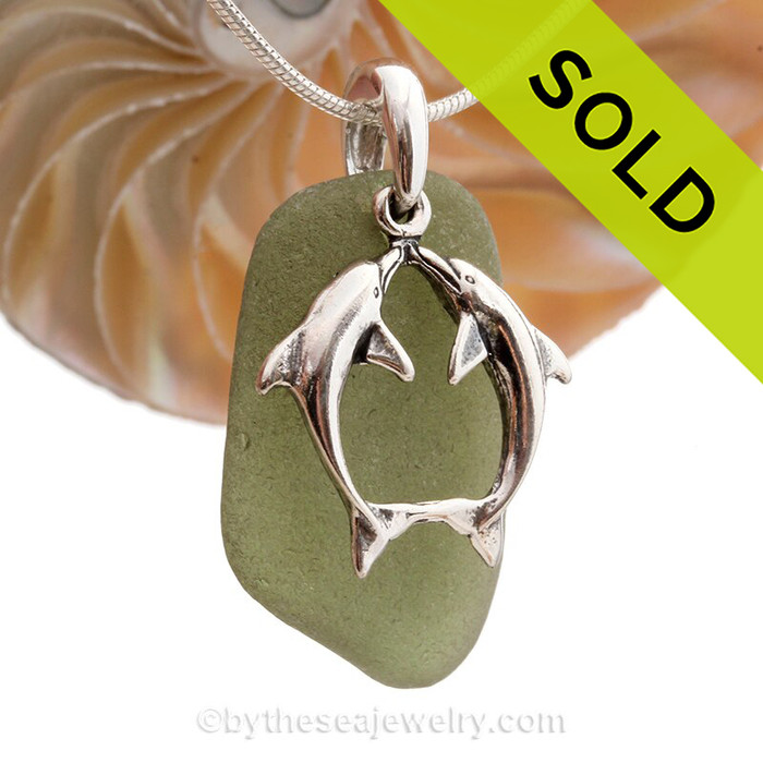 "Beautiful Kissing Dolphins Sterling Silver Necklace with Seaweed Green Sea Glass - 18"" STERLING CHAIN INCLUDED."