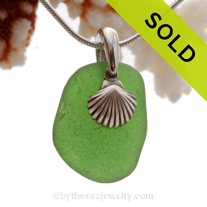 Vivid Green Sea Glass Necklace with Beach found sea glass and Solid Sterling Sea Shell Charm and INCLUDING Solid Sterling Silver Snake chain.